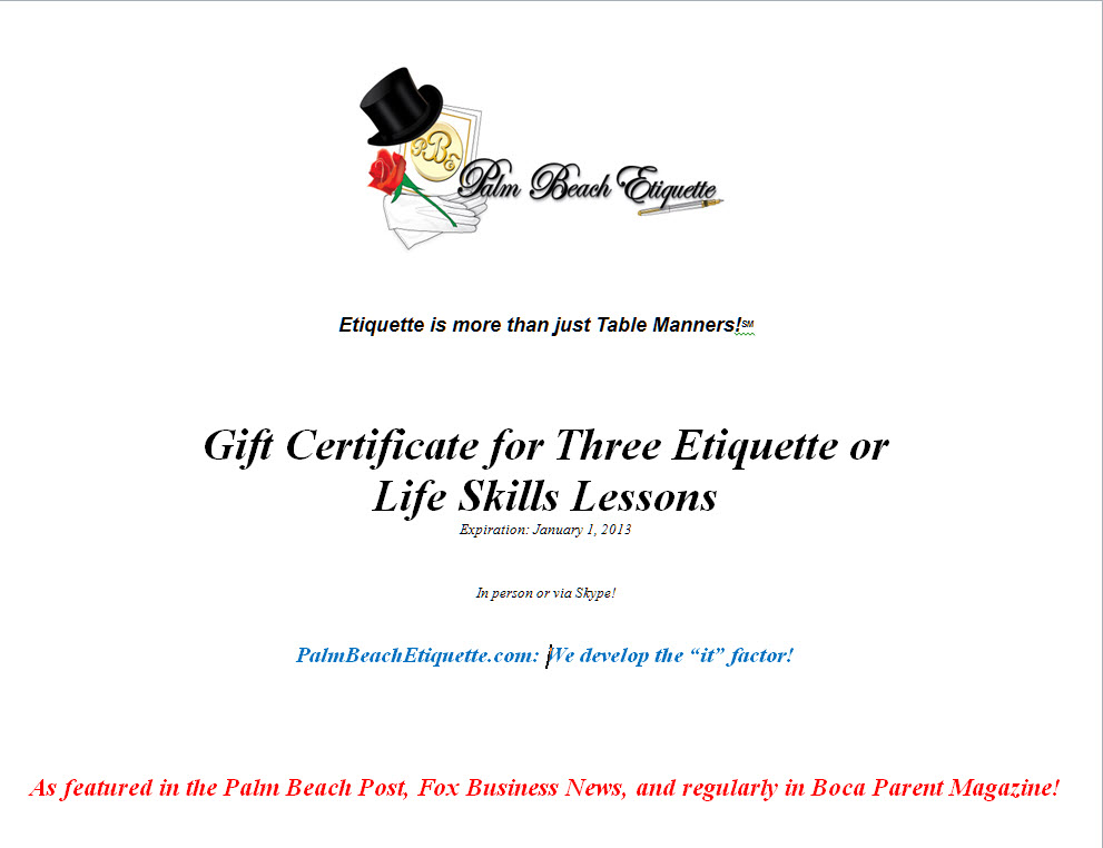 Gift Certificates & Store - Palm Beach Etiquette, Life Skills ...