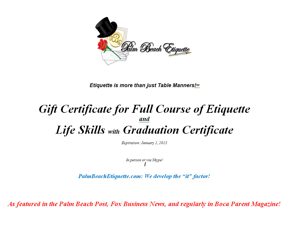 Gift Certificate Full Course With Graduation Certificate Palm